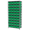 Akro-Mils Steel Shelving Kit, 18x36x79, 40 Bins, Gray/Green