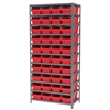 Steel Shelving Kit, 18x36x79, 40 Bins, Gray/Red
