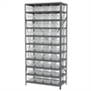 Akro-Mils Steel Shelving Kit, 18x36x79, 40 Bins, Gray/Clear