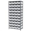 Akro-Mils Steel Shelving Kit, 18x36x79, 40 Bins, Gray/White