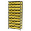 Akro-Mils Steel Shelving Kit, 18x36x79, 40 Bins, Gray/Yellow