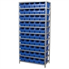 Steel Shelving Kit, 18x36x79, 50 Bins, Gray/Blue
