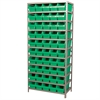 Steel Shelving Kit, 18x36x79, 50 Bins, Gray/Green