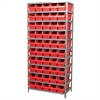 Steel Shelving Kit, 18x36x79, 50 Bins, Gray/Red