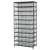 Steel Shelving Kit, 18x36x79, 50 Bins, Gray/Clear