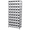 Akro-Mils Steel Shelving Kit, 18x36x79, 50 Bins, Gray/White