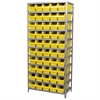 Steel Shelving Kit, 18x36x79, 50 Bins, Gray/Yellow