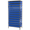 Akro-Mils Steel Shelving Kit, 18x36x79, 96 Bins, Gray/Blue