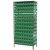 Steel Shelving Kit, 18x36x79, 96 Bins, Gray/Green