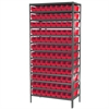 Steel Shelving Kit, 18x36x79, 96 Bins, Gray/Red