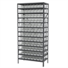 Akro-Mils Steel Shelving Kit, 18x36x79, 96 Bins, Gray/Clear