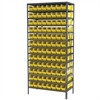 Steel Shelving Kit, 18x36x79, 96 Bins, Gray/Yellow