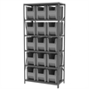Steel Shelving Kit, 18x36x79, 16 Bins, Gray