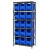 Akro-Mils Steel Shelving Kit, 18x36x79, 16 Bins, Gray/Blue