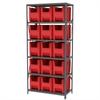 Akro-Mils Steel Shelving Kit, 18x36x79, 16 Bins, Gray/Red