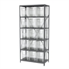 Steel Shelving Kit, 18x36x79, 16 Bins, Gray/Clear