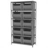 Akro-Mils Steel Shelving Kit, 18x42x79, 10 Bins, Gray