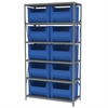 Steel Shelving Kit, 18x42x79, 10 Bins, Gray/Blue