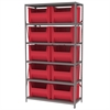 Steel Shelving Kit, 18x42x79, 10 Bins, Gray/Red