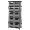 Akro-Mils Steel Shelving Kit, 18x36x79, 10 Bins, Gray