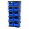 Steel Shelving Kit, 18x36x79, 10 Bins, Gray/Blue