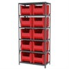 Steel Shelving Kit, 18x36x79, 10 Bins, Gray/Red