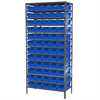 Akro-Mils Steel Shelving Kit, 18x36x79, 60 Bins, Gray/Blue