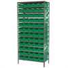 Akro-Mils Steel Shelving Kit, 18x36x79, 60 Bins, Gray/Green