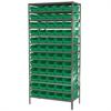 Steel Shelving Kit, 18x36x79, 60 Bins, Gray/Green