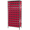 Steel Shelving Kit, 18x36x79, 60 Bins, Gray/Red