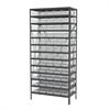 Steel Shelving Kit, 18x36x79, 60 Bins, Gray/Clear