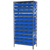 Steel Shelving Kit, 18x36x79, 48 Bins, Gray/Blue