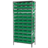 Akro-Mils Steel Shelving Kit, 18x36x79, 48 Bins, Gray/Green