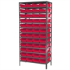 Akro-Mils Steel Shelving Kit, 18x36x79, 48 Bins, Gray/Red