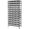 Steel Shelving Kit, 18x36x79, 48 Bins, Gray/White