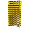 Steel Shelving Kit, 18x36x79, 48 Bins, Gray/Yellow