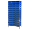 Akro-Mils Steel Shelving Kit, 18x36x79, 36 Bins, Gray/Blue