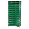 Akro-Mils Steel Shelving Kit, 18x36x79, 36 Bins, Gray/Green