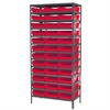 Akro-Mils Steel Shelving Kit, 18x36x79, 36 Bins, Gray/Red