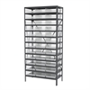 Steel Shelving Kit, 18x36x79, 36 Bins, Gray/Clear
