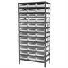 Steel Shelving Kit, 18x36x79, 36 Bins, Gray/White