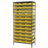 Akro-Mils Steel Shelving Kit, 18x36x79, 36 Bins, Gray/Yellow