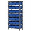 Akro-Mils Steel Shelving Kit, 18x36x79, 24 Bins, Gray/Blue