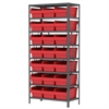 Steel Shelving Kit, 18x36x79, 24 Bins, Gray/Red