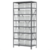 Steel Shelving Kit, 18x36x79, 24 Bins, Gray/Clear