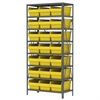 Steel Shelving Kit, 18x36x79, 24 Bins, Gray/Yellow