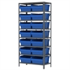 Steel Shelving Kit, 18x36x79, 16 Bins, Gray/Blue