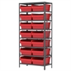 Steel Shelving Kit, 18x36x79, 16 Bins, Gray/Red