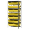 Akro-Mils Steel Shelving Kit, 18x36x79, 16 Bins, Gray/Yellow