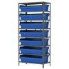 Steel Shelving Kit, 18x36x79, 8 Bins, Gray/Blue